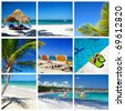 Caribbean collage. Beach with palm and grass umbrella - stock photo