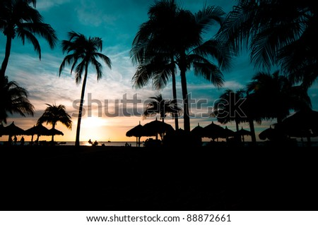 Caribbean colored sunset - stock photo