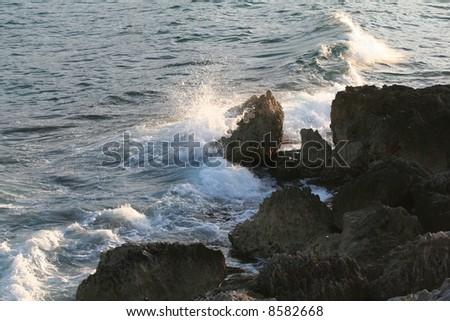Caribbean Crashing Waves - stock photo