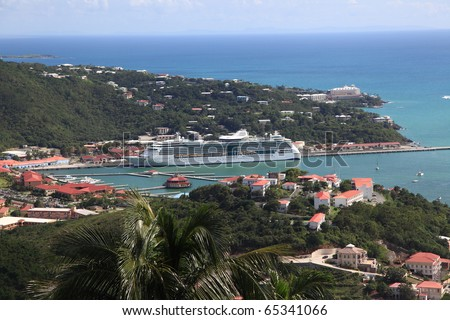 Caribbean Cruise Ship docked in St Thomas - stock photo