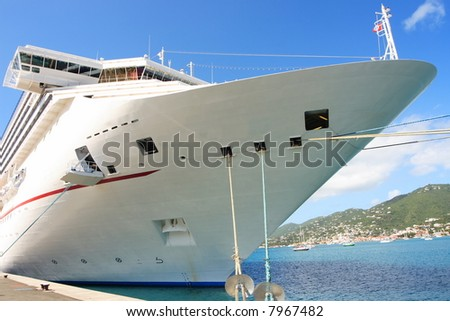 Caribbean Cruise Ship docked on the island of St. Thomas - stock photo