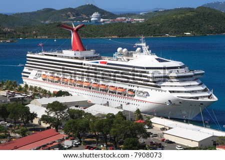 Caribbean Cruise Ship docked on the island of St. Thomas US Virgin Islands - stock photo