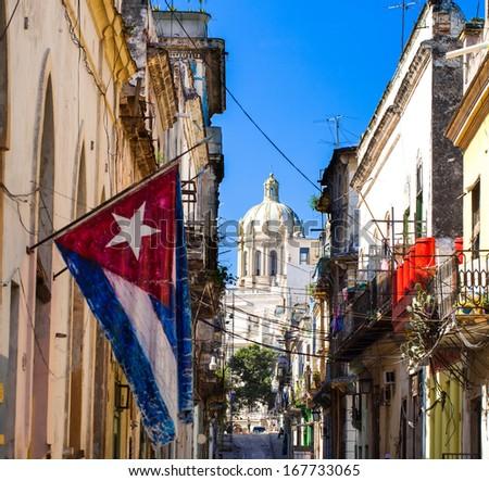 Caribbean Cuba Havana Capitol View with flag - stock photo