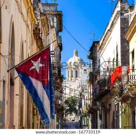 Caribbean Cuba Havana Capitol with national flag - stock photo