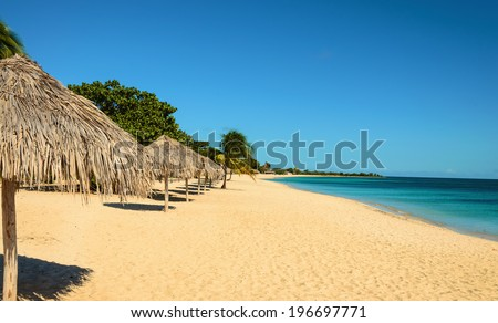 Caribbean exotic beach with palm tree umbrellas, golden sand, azure water and blue sky - stock photo