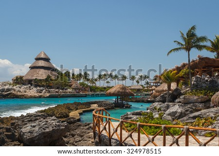 Caribbean landscape near Cancun, Mexico - stock photo