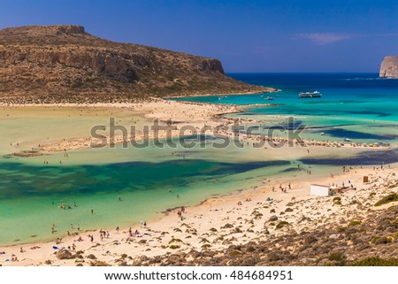 Caribbean like beautiful Balos beach and lagoon, Chania prefecture, Crete island, Greece