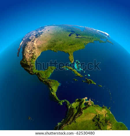 Caribbean, Pacific and Atlantic Oceans, the view from the satellites - stock photo