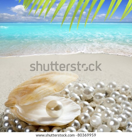 Caribbean pearl inside clam shell over white sand beach in a tropical turquoise sea [Photo Illustration] - stock photo