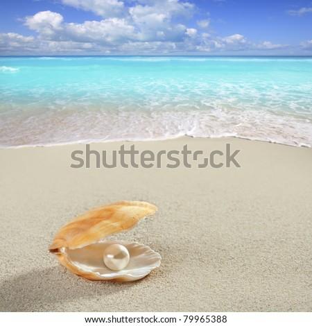 Caribbean pearl inside clam shell over white sand beach [Photo Illustration] - stock photo