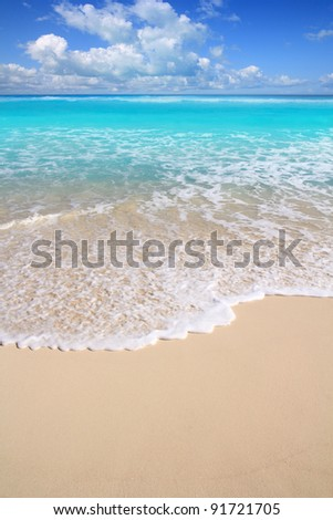 Caribbean perfect turquoise white sand beach in a sunny day at Mayan Riviera - stock photo