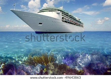 caribbean reef view with cruise vacation boat travel [Photo Illustration] - stock photo