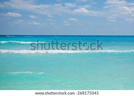 Caribbean sea and blue sky - stock photo