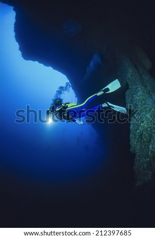 Caribbean Sea, Belize, UW photo, deep dive in the Belize Blue Hole - FILM SCAN - stock photo