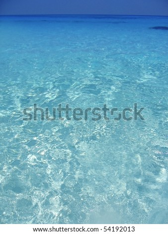 Caribbean sea blue turquoise water in Cancun Mexico - stock photo