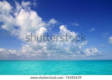 Caribbean sea horizon on blue sky cumulus vacation day perfect paradise - stock photo