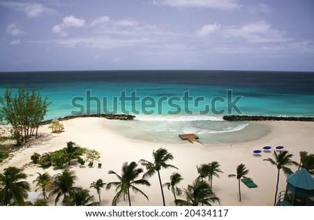 Caribbean sea in Barbados - stock photo