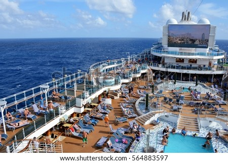 Caribbean Sea January Crowded Cruise Stock Photo - Can you text from a cruise ship