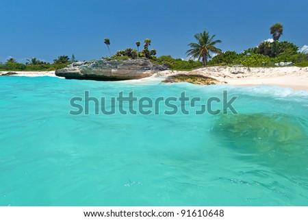 Caribbean Sea scenery in Playa del Carmen, Mexico - stock photo