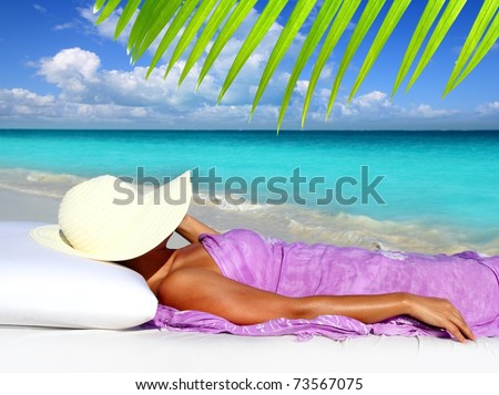Caribbean tourist resting beach hat woman hammock bed [Photo Illustration] - stock photo