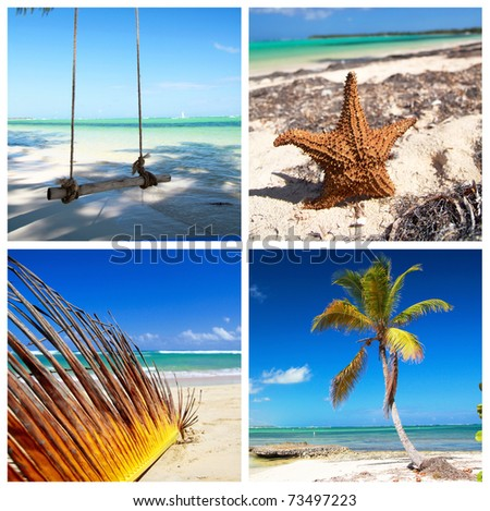 Caribbean travel collage with palm and coastline - stock photo