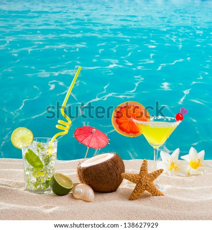 caribbean tropical sand beach cocktails mojito margarita stock photo