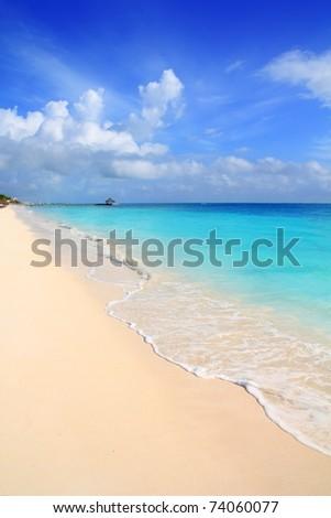 Caribbean tropical turquoise beach blue sky Mayan Riviera Mexico - stock photo