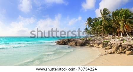 Caribbean Tulum Mexico tropical panoramic beach sunny day - stock photo