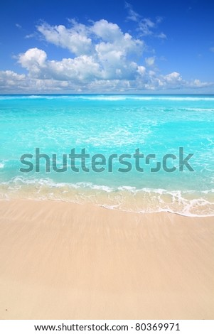 Caribbean turquoise beach perfect sea sunny day in Mayan Riviera - stock photo