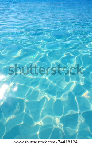Caribbean turquoise water beach reflection aqua perspective background - stock photo