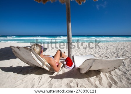 Caribbean vacation on sandy beach  - stock photo