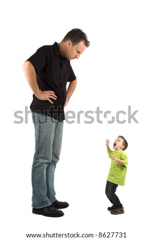 Caricature of a large father and an extra small child. The child is very scared for his father. Use it for all kinds of raising children problems. - stock photo