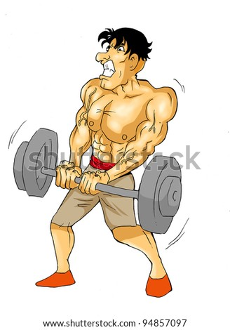 Caricature of a muscular male figure doing weightlifting - stock photo