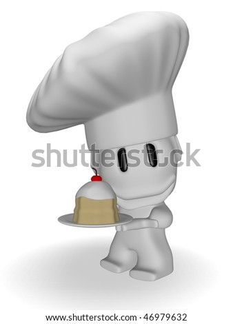 caricature of smiling chef with cake - stock photo