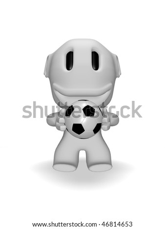 caricature of smiling man with soccer ball