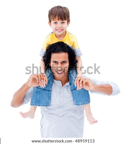 Caring father giving piggyback ride to his little boy isolated on a white background - stock photo