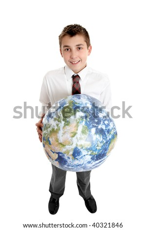 Caring for Earth.   Smiling  school student holds the earth in his hands.  Images of earth from Nasa satellite. - stock photo