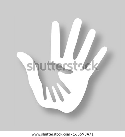 Caring hand applique, raster illustration  - stock photo