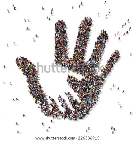 Caring hand symbol formed out of people seen from above, on white background - stock photo