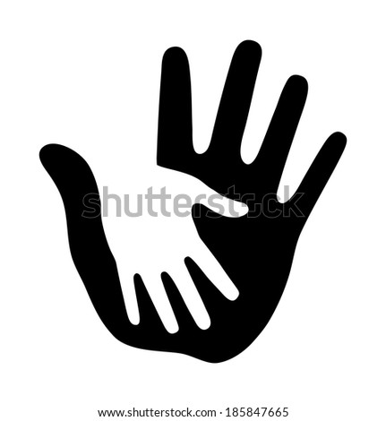 Caring thick hand, raster illustration  - stock photo