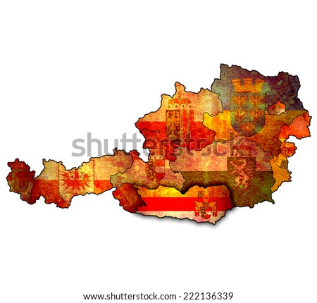 Carinthia flag on map of austria with administrative divisions - stock photo