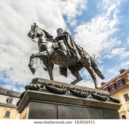 Carl-August Monument (in Weimar under blue sky - stock photo