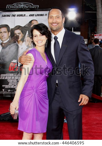 Carla Gugino and Dwayne Johnson at the World premiere of 'Get Smart' held at the Mann Village Theater in Westwood, USA on June 16, 2008.