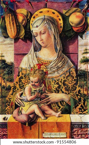 Carlo Crivelli. Mentioned since 1457, died 1495. Madonna and Child. 1480-s. Metropolitan Museum of Art. New York. Reproduction of postcard, USSR, circa 1983 - stock photo