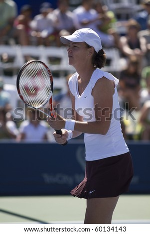 CARLSBAD, CA - AUGUST 07: Lindsay Davenport participates in a doubles exhibition at the Mercury Insurance Open at La Costa Resort and Spa on August 7, 2010 in Carlsbad, CA. - stock photo