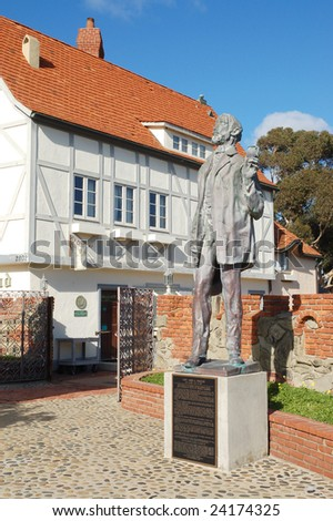 "CARLSBAD, CA - JANUARY 26, 2009: ""Alt Karlsbad Hanse House""; three-story, half-timbered turreted structure. Site of original mineral well dug in 1880s. Museum and art gallery in the basement."
