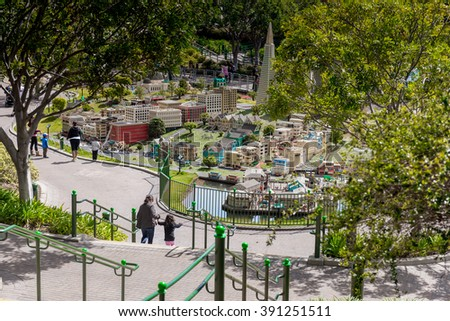 Carlsbad, California, USA - March 12, 2016: Miniland USA is replete with inspiring reproductions, made with 20 million LEGO pieces cities from all around the world, at Legoland, Carlsbad, CA