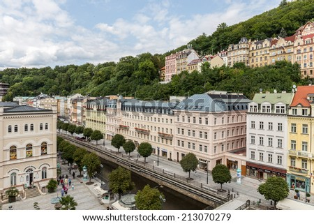 CARLSBAD, CZECH REPUBLIC - AUGUST 21 2014: Historical Buildings in the city of Karlovy Vary, Carlsbad in the czech republic, famous for its hot springs; travel destination and health resort - stock photo