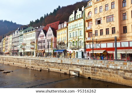 CARLSBAD, CZECHIA - NOVEMBER 23: Carlsbad on November 23, 2011 in Carlsbad, Czechia. Town is historically famous for its hot springs (13 main springs, about many smaller springs, warm-water River) - stock photo