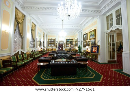 "CARLSBAD, CZECHIA - NOVEMBER 23:  Interior of Grandhotel Pupp  on November 23, 2011 in Bohemia, Czechia. Films ""Last Holiday"" and box-office hit ""Casino Royale"", both of which used  Grandhotel Pupp - stock photo"